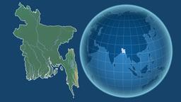 Bangladesh and Globe. Relief Animation