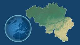Belgium and Globe. Relief Animation