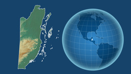 Belize and Globe. Relief Animation