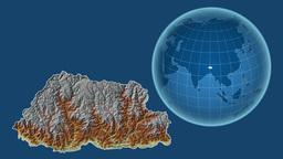 Bhutan and Globe. Relief Animation