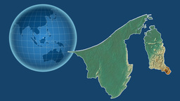 Brunei and Globe. Relief Animation