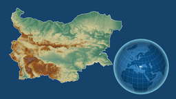 Bulgaria and Globe. Relief Animation