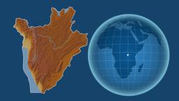 Burundi and Globe. Relief Animation