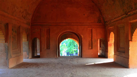 Slow Zoom Inside The Ahom Kings Architecture Rang Ghar In Assam stock footage