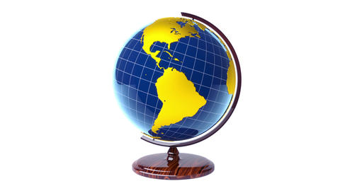 Colorful model of Earth globe rotating, loop Animation