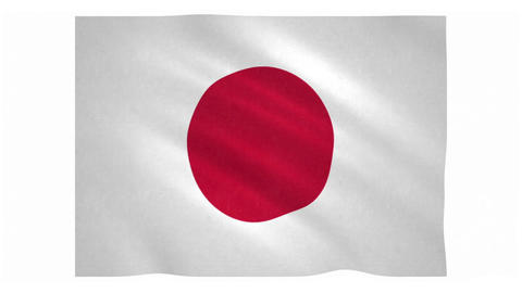 Flag of Japan waving on white background Animation