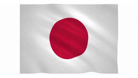 Flag of Japan waving on white background Animation