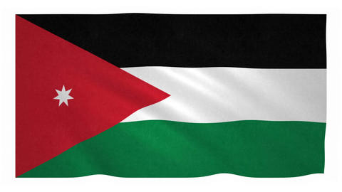 Flag of Jordan waving on white background Animation