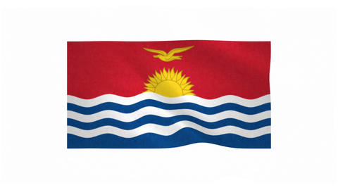 Flag of Kiribati waving on white background Animation
