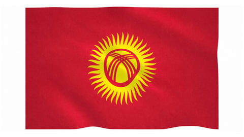 Flag of Kyrgyzstan waving on white background Animation