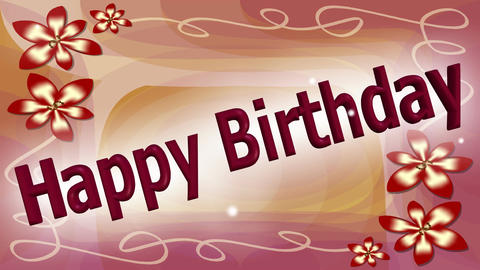 Happy birthday banner with dancing and leaping letters on elegant pink abstract  Animation