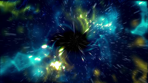 A deep space flying through stars to black hole Animation