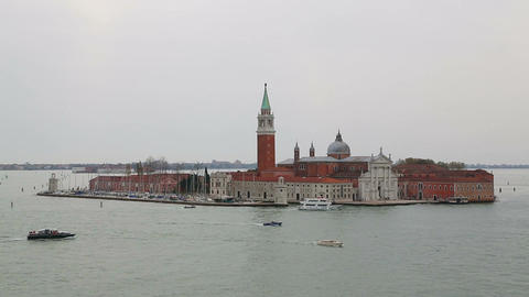 View of old San Giorgio Maggiore church from above ビデオ