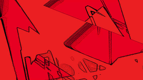 Random Changing Geometrical Graphics Shapes Lines On Red Motion Animation Animation