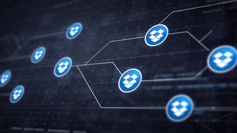 Dropbox Icon Line Icon Connection of Circuit Board Loop Animation 4K. Editorial  Animation