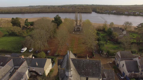 Aerial view by drone of Calvary and the Chapel of Our Lady of Béhuard, Ile de B Footage