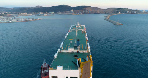 Dry cargo ship is approaching the port. Bar, Montenegro Filmmaterial