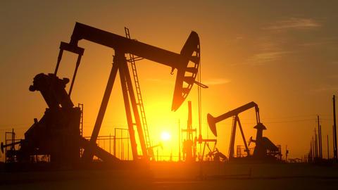 Large Oil Field At Sunrise Footage