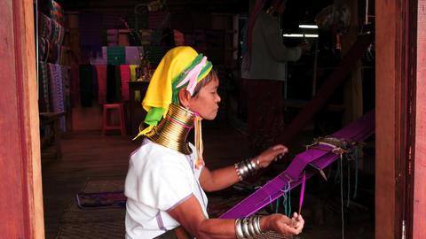 woman long neck Paduang tribe in Myanmar - smooth zoom Footage