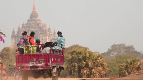 Transport motion on dusty roads of Bagan smooth zoom Footage