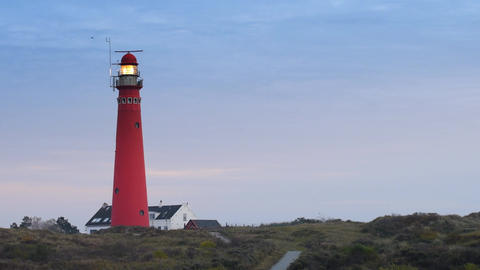 Lighthouse at the island of Schiermonnikoog in the Dutch Waddensea region