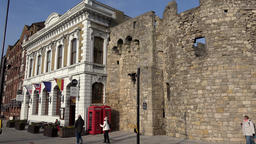 Great Britain England Southampton 03 part of city wall at Town Quay Footage