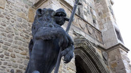 Great Britain England Southampton 36 lion sculpture at Bargate town gate Footage