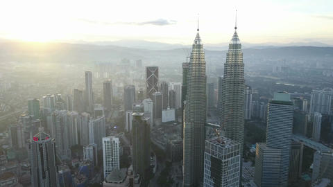 4k b-roll cinematic footage of drone flying above Kuala Lumpur city skyline Footage