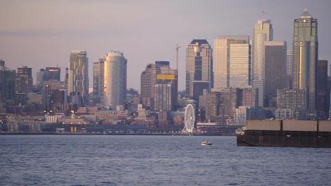 Elliott Bay Puget Sound Shimmers Dusk Seattle Washington Downtown City Skyline Footage