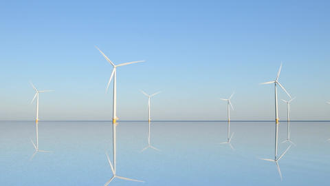 Wind turbines with turning blades in the wind Live Action
