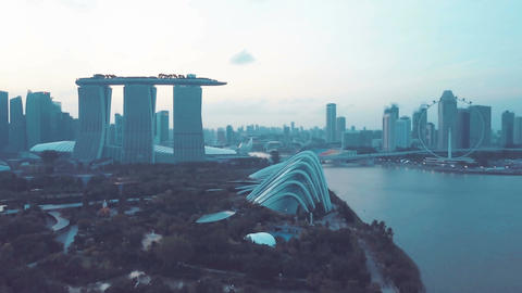 4k b-roll cinematic footage of Marina Bay Sands Singapore from aerial view