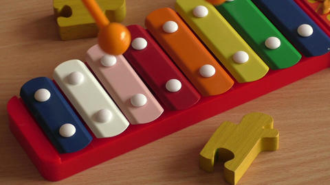 Xylophone toy in rainbow color. Education toy for kid and toddler Footage