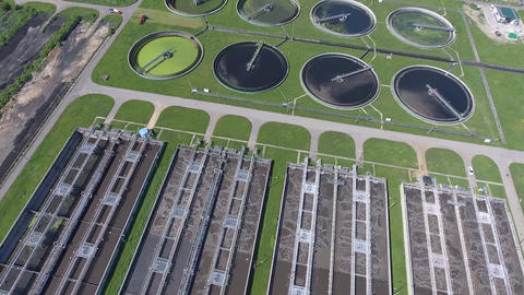 Sewage farm. Static aerial photo looking down onto the clarifying tanks and gree Footage