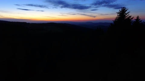 Sunset. Aerial view of the sunset at mountains in Poland. Red sky. View from abo Footage