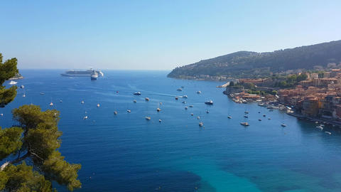 Aerial View of the Mediterranean Sea in Villefranche Sur Mer Footage