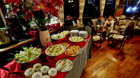 View Red Tables Served for Buffet in Hotel Restaurant Footage