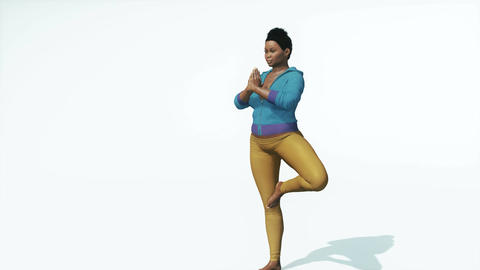 Young curvy african woman in tree pose yoga Animation