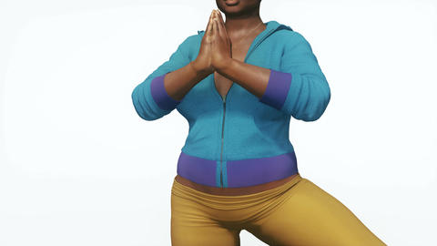 Plus size black woman in tree pose yoga close up Animation