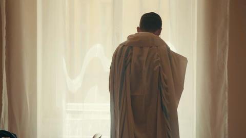 Jewish man praying in his house at the morning Footage