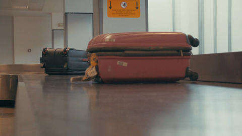 Luggage on a conveyor at the airport 画像