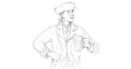 American Patriot Showing Beer Toast 2D Animation Animation