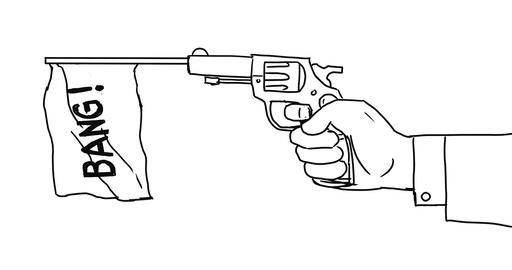 Hand Firing Gun Flag Bang 2D Animation Animation