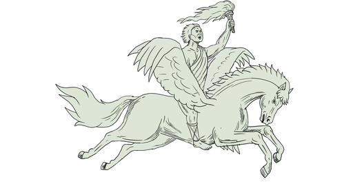 Bellerophon Riding Pegasus Holding Torch 2D Animation Animation
