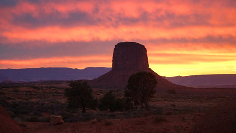 Intense Color Sunset Monument Valley Buttes Utah Arizona Border Footage