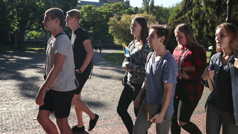 Group of students going to lecture in university Live Action