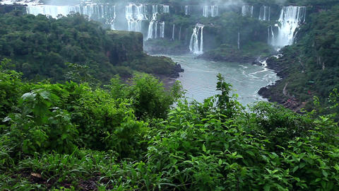 Iguassu Falls, the largest series of waterfalls of the world, view from Brazilia ビデオ
