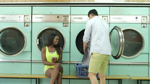 MLS A Young Man and a Young Woman meet in a Launderette Live Action