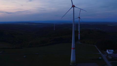 Wind turbines at wind park at dusk, Rheingau-Taunus area Footage