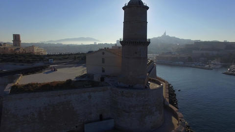 Fort Saint-Jean and Old Port, filmed by drone, Marseille, France Footage