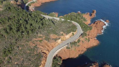 The cornice of Esterel, filmed by drone, Saint-Raphael, France Footage